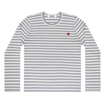Comme de Garcon Play Small Red heart Stripe long t-shirts Gray+white