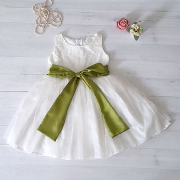 Ivory White Flower Girl's Dress, over 50 sash color to choose from, party dress, embroidered cotton and tulle dress,