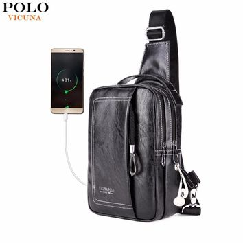 VICUNA POLO Double Pocket USB Charging PU Leather Men Messenger Bag With Headphone Outlet Crossbody Bag Casual Chest Sling Bags