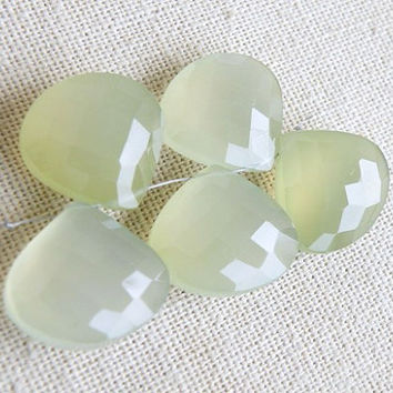 Green Chalcedony Briolette Gemstone Faceted Heart Teardrop Large 18mm Set of 5 Beads