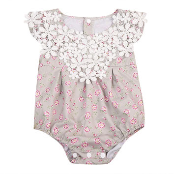 Newborn Baby Girls Lace Flower Romper Sleeveless Cotton Jumpsuit Sunsuit Outfit Baby Infant Onesuit Clothing Girls Clothes Summer