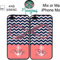 Best Friends iPhone Case , iPhone 4 Case , iPhone 5 Case , Navy Coral Chevron iPhone Case , Anchor iPhone Case , TWO CASE SET