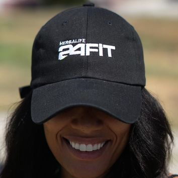 Herbalife 24 FIT polo dad hat, black w/neon