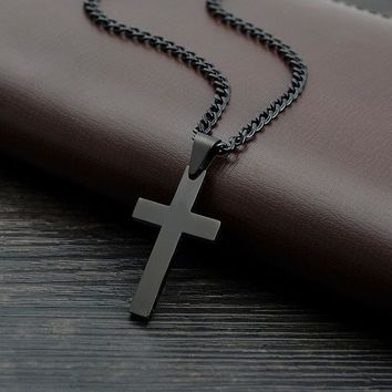 Black Steel Link Cross Necklace