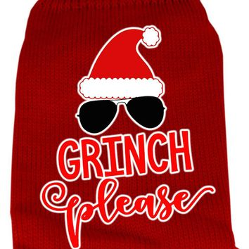 Grinch Please Screen Print Knit Pet Sweater Xxl Red
