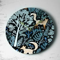Foxes Playing In The Forest Wall Clock