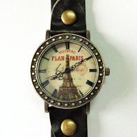 Paris Watch, Eiffel Tower Watch,Retro Leather Watch, Mens Watch, Women Watches, Unisex Watch, Boyfriend Watch, Vintage Black