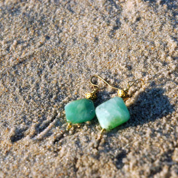 Diamond Chrysoprase Earrings