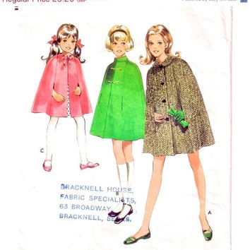 SALE - 1960s Cape Vintage Sewing Pattern / Child Size 2 / Style 2391
