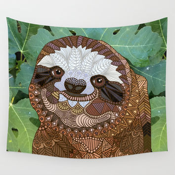 Happy Sloth Wall Tapestry by ArtLovePassion
