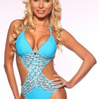 Women One Piece Mesh Animal Print Padded Push Up Halter Top Monokini Swimsuit