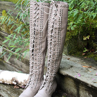 Escape To The Valley Beige Tall Over Knee Studded Riding Boots