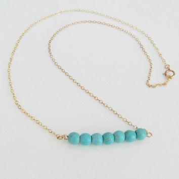 Turquoise Bar Necklace Trendy Dainty