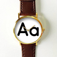 Personalized Initial Watch, Alphabet Watch, Leather Watch, Women Watches, Men's Watch,  Boyfriend Watch, A-Z, Vintage Style, Custom made
