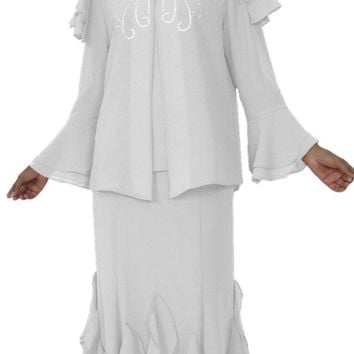 Hosanna 5150 Plus Size 3 Piece Set White Tea Length Dress