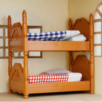 1/12 Miniature Bunk Bed Dolls Miniature Baby Furniture dollHouses Kids Children Brinquedos Kids Pretend play Toys