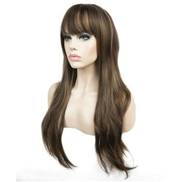 StrongBeauty Women's Synthetic Long Layered Style Straight Wigs Dark Brown with Blonde Highlights Full Wig