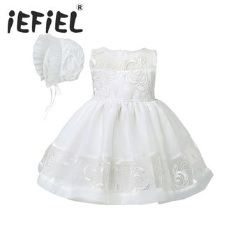 Newborn Christening Gown Party Wedding Dress with Bonnet and Cape Elegant Baptism Dresses for girl baby birthday 2PCS/Set