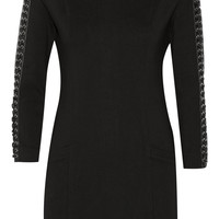 Pierre Balmain - Leather-trimmed stretch-cady mini dress