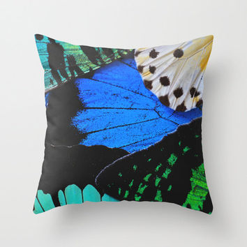 Velveteen Pillow - Butterfly Pillow Cover - Rustic Decor - Boho Decor - Nature Decor - Blue Butterfly - Butterfly Throw Pillow