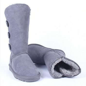 Fashion simple three buckle Gaotong snow boots women boots Gray