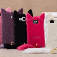3D Cute Smile Charming Plush Cat Ear Tail Case Cover For Apple Samsung Galaxy Smart Mobile Phones (iPhone 5C, Light Pink)