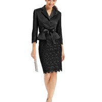 Tahari ASL Belted Jacket & Lace Skirt Suit | macys.com