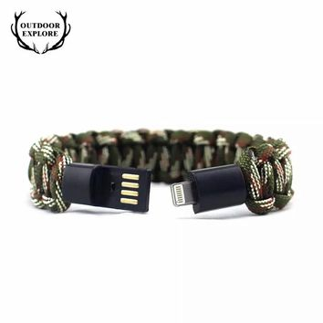 EMAK Outdoor Survival Paracord Bracelet Noodle Rope Braided Sync USB Data Charger Cable Cord 10FT iPhone X Plus for iPad Pro Air