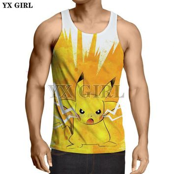 YX GIRL Cartoon  Cool vest 2018 summer New style Fashion Mens 3d Vest Cute Pikachu Printed Unisex Tank topsKawaii Pokemon go  AT_89_9