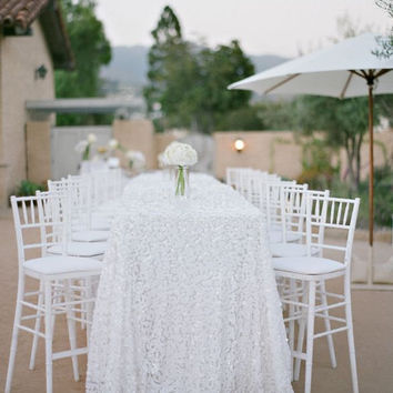 White Sequin Tablecloth custom sizes available & colors Square Sequin Chip Fabric