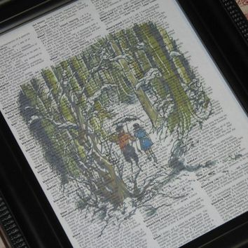 Upcycled Art Narnia Print on Vintage Dictionary Page