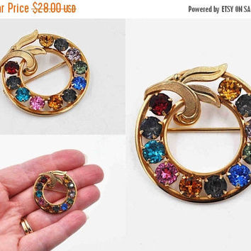 ON SALE Vintage Van Dell 12K Gold Filled Rhinestone Brooch, Multicolor, Family, Mother's, Round, Wreath, Leaves, Swirl, Vivid Colors! #b867
