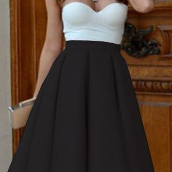 Black Plain Pleated Skater Flared Vintage High Waisted Knee Length Retro Skirt