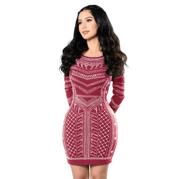 Women Dress Sexy Retro Long-Sleeved Bodycon Tight Dresses Fashion 2017 Party Dress LJ7633C