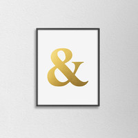 Faux Gold Foil Ampersand Art Print. Typography Print. Modern Home Decor. Chic. Grammar Print. Minimalist Wall Art. Office Art.