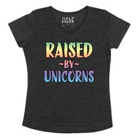 Raised by Unicorns-Female Heather Onyx T-Shirt