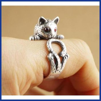 Summer Style Hippie Vintage Anel Punk Kitty Wedding Ring Boho Chic Brass Knuckle Animal Cat Rings For Women Fine Jewelry R337