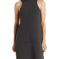 Charcoal Mock Neck Scuba Knit Shift Dress by Charlotte Russe