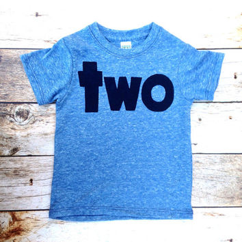 Triblend blue boys 2nd birthday shirt with navy two kids birthday theme second party