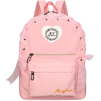2017 New Arrival Women Lace Ribbon Backpacks School Travel Bags Youth Trend Schoolbag Students Canvas Backpack Women Campus Bag