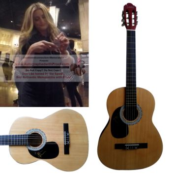 Stephanie Quayle Autographed Full Size 39 Inch Country Music Acoustic Guitar, Proof Photo