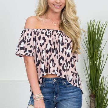 Pink Leopard Crop Top