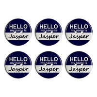 Jasper Hello My Name Is Plastic Resin Button Set of 6