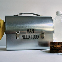 Mens Stainless Steel Metal Lunch Box - Personalized w/ your text, Man Gift, Husband Gift, Christmas Gift for Him Grandpa Working Food