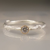 Moissanite Twig Ring - 18k Gold and Sterling Silver - Engagement Ring