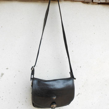 Vintage Black GIL HOLSTERS FRANCE Leather Messenger Bag / Crossbody Bag / Shoulder Bag / Made in France