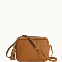 GiGi New York Madison Crossbody Saddle Pebble Grain Leather