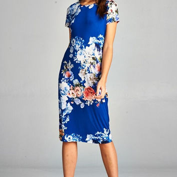 Midi Floral Dress - Royal - Ships Tuesday March 6th