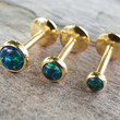 Gold Sapphire Blue and Green Fire Opal 16 Gauge Cartilage Earring Tragus Monroe Helix Piercing You Choose Stone Size