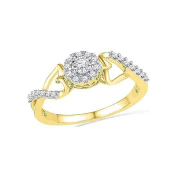 10kt Yellow Gold Women's Round Diamond Cluster Heart Promise Bridal Ring 1/6 Cttw - FREE Shipping (US/CAN)